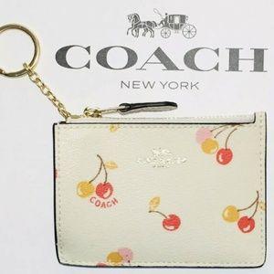 Skinny Mini ID Wallet KeyChain Cherries Coins NWT